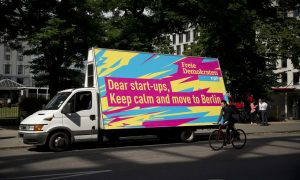 The German FDP party's rolling billboard was driven around London.