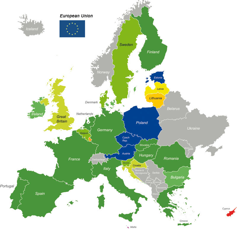 E-Money Institutions in the EU - map